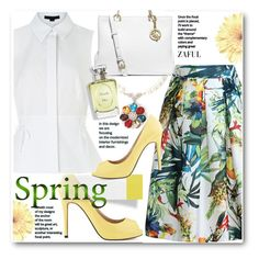 """Spring Style -Perfume for Spring"" by beebeely-look ❤ liked on Polyvore featuring Alexander Wang, MICHAEL Michael Kors, Christian Dior, springfashion, whiteblouse, peeptoe, zaful and springscent"