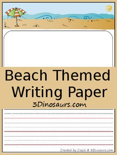 Free Beach Themed Writing Paper from 3Dinosaurs