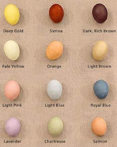 natural egg dye color chart via Martha stewart