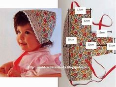 Little Girls Sun Bonnet. Sewing Patterns For Kids, Sewing For Kids, Baby Sewing, Baby Patterns, Baby Bonnet Pattern, Sewing Crafts, Sewing Projects, Baby Bonnets, Baby Crafts