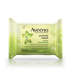 Aveeno Positively Radiant Makeup Removing Wipes, 25 Count Easily removes makeup, oil, and dirt that can dull skin Leaves skin looking fresh, awake & luminous Oil-free Non-comedogenic Oil Free Makeup Remover, Makeup Remover Wipes, Makeup Wipes, Gentle Facial Cleanser, Face Cleanser, Facial Cleansers, Aveeno Active Naturals, Tutorials