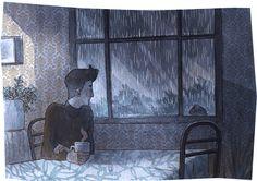 Un día de lluvia con un delicioso café. Por. Davide Aurilia Artwork
