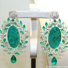 Double green love with Piaget Rose Passion earrings in 18k white gold set with…