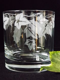 """Hand etched tumbler glass with """"Holly and Ivy"""" design by Beech Tree Crafts"""