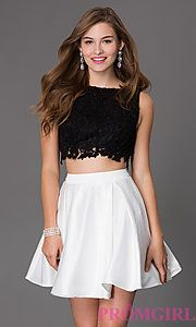 Buy Short Two Piece Dress 7300 with Lace Bodice at PromGirl