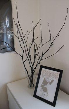 decorated branches, dekorative grene, DIY, winter decoration