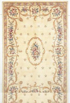 "KAS Rugs Ruby 8904 Ivory Fleur-De-Lis Aubusson Hand-Tufted 100% Wool 8' x 10'6"""