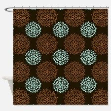 Cute Teal Green, Orange, And Brown Retro Flowers S For · Brown Shower  CurtainsRetro ...