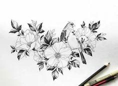 Tatoo Flowers, Flower Tattoo Drawings, Beautiful Flower Tattoos, Flower Tattoo Designs, Pretty Tattoos, Tattoo Sketches, Body Art Tattoos, New Tattoos, Girl Tattoos