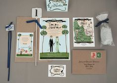 Hand Illustrated Wedding Invitation