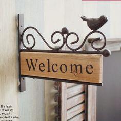 De! Estilo Vintage de ferro bem-vindo gancho da parede de madeira decoração de jardim para Deocration