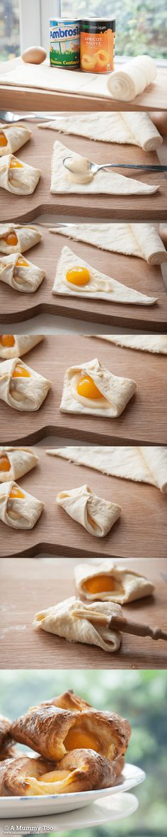 I used to live on these when I was in Luxembourg (which explains all the extra LBs I picked up. Super fast apricot custard Danish recipe (I saw these in a cafe in Australia I thought they looked yummy. My Recipes, Cooking Recipes, Favorite Recipes, Danish Food, Danish Pastries, Puff Pastries, Apricot Recipes, Breakfast Recipes, Dessert Recipes