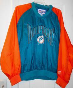 New NFL MIAMI DOLPHINS Orig Logo Football Jersey Weather Resist Nylon SHIRT~ L 53d465d1b