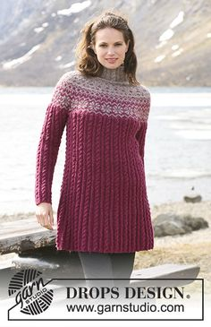 """Katrina / DROPS 116-48 - DROPS Tunic in """"Karisma"""" with Norwegian pattern, cables and round yoke. Size S to XXXL."""