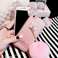 Hot Luxury Rhinestone Mickey Mouse Ear Pink Puffer Ball Cover Cases For iphone6 6S Plus For iphone7 7Plus For Samsung Lady Shell | iPhone Covers Online