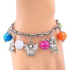 5PC Hot!New Design Christmas Tree Snow Santa Claus Beauty Bead Chain Bracelet