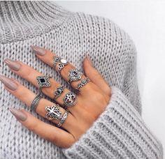 ...silver! Shop new silver styles at glamourandglow.com  #rings #layered #boho