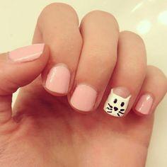 Pink kitten nails, done with migi nail art pens :)