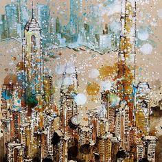"4th painting for Affordable Art Fair HK 22 - 24 May, 2015 Hong Kong Convention and Exhibition Centre ""Hong Kong City Skyline"" Mixed media 16Apr2015  #tilenti #tilen #theartcommunity #watercolor #watercolour  #watercolours #watercolors #painting #paintings #splattered #drip #dripped  #artfido #art #_tebo_ #artists_magazine #spotlightonartists #arts_help  #worldoftalents  #art_spy #art4youu #shaded_canvas #art_spotlight #aartistic_dreamers #aaf #hongkong"