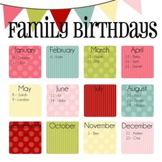 Family Birthday Calendar Digital copy you print in by MayasHouse