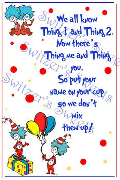 Drink table sign for dr Seuss cat in the hat birthday party baby shower