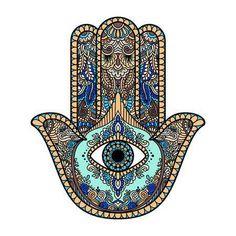 multicolored illustration of a hamsa hand symbol. Hand of Fatima religious sign with all seeing eye. Vector illustration in doodle zentangle style; compre este vectores en stock en Shutterstock y encuentre otras imágenes. Hamsa Hand Tattoo, Hamsa Art, Hand Tattoos, Tatoos, Hamsa Design, Hamsa Tattoo Design, Symbol Hand, Hand Symbols, Hamsa Symbol