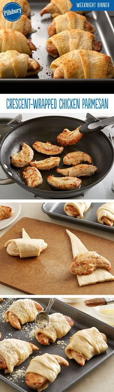Everyone loves chicken parmesan! This super easy recipe takes a fun twist on the classic chicken parmesan. Chicken and cheese wrapped in crescents dipped in marinara will instantly become a family weeknight dinner.