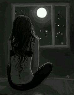 Девушка, грусть, тоска, луна, арт