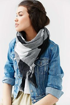 BDG Plaid Oversized Square Scarf - Urban Outfitters