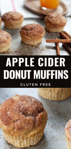 Spiced Apple Cider Muffins are a cozy, gluten-free treat that taste just like apple cider donuts. These muffins are made from scratch with apple cider and sugary-sweet flavors -the perfect fall time breakfast, snack and dessert. Recipe Using Apple Cider, Recipe Using Apples, Spiced Apple Cider, Apple Cider Donuts, Spiced Apples, Apple Cider Uses, Gluten Free Muffins, Gluten Free Sweets, Gluten Free Cookies