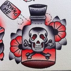 Drink Me Tattoo Flash | KYSA #ink #design #tattoo
