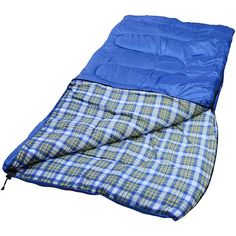 Major SALE ! World Famous Sports Blue & Plaid Sleeping Bag Xplore Outdoor #camping #knives #survival