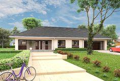 Projekt domu parterowego Berenika - murowana – ceramika o pow. 135,3 m2 z obszernym garażem, z dachem kopertowym, z tarasem, sprawdź!