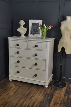 Our large Victorian chest of drawers is perfect to bring a period look to any bedroom. Painted in Annie Sloan Old White with Old Violet inside the drawers, lightly distressed and aged with dark wax. http://www.thetreasuretrove.co.uk/bedroom-storage/large-white-shabby-chic-victorian-chest-of-drawers-2