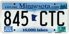 Minnesota State License Plate     This is the official license plate for the state of Minnesota as it has been officially adopted by the state legislature. Also known as a vehicle registration plate, it is used to identify the car and owner of a motor vehicle or trailer in the state.