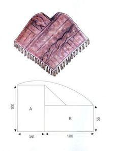 Kötött poncsó szabása Méret: 38/40 Hozzávalók: 1,2 kg vastag melange gyapjú fonal, 12-s kötőtű, 8-s horgolótű. Fontos! Dupla szállal kötünk. 8 szem és 12 sor = 10 x 10 cm