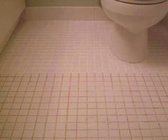 Shiny bathroom floor! Mix 7 cups water, 1/2 cup baking soda, 1/3 cup lemon juice and 1/4 cup vinegar. Spray the concoction onto the dirty grout, let sit, and scrub with a brush. Sparkling grout await.