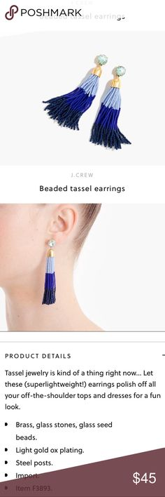 """🎉 HP 8/22!! 🎉 J. Crew tassel earrings Gorgeous J. Crew tassel earrings in multi-tonal blues. Glass beads, 3 1/4"""" long, faceted glass stone on post. I love the idea of these but they just don't work for me, so these have never been worn. My loss is your gain! Come with black velvet storage pouch and matching gift box. Smoke- and pet-free home. J. Crew Jewelry Earrings"""
