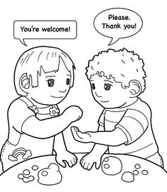 preschool coloring pages friends | Manners Coloring Page | Good manners | Manners preschool ...