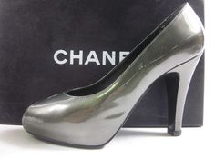 AUTH CHANEL Gray Patent Leather Peep Toe Pumps Heels Sz 36.5 6.5 IN BOX  at www.ShopLindasStuff.com