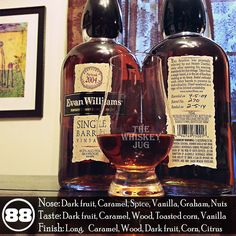 Evan Williams Single Barrel Vintage Barrel is a tasty bourbon with a lot to offer in the aroma and flavor departments. Overall there is a warm full quality and has a solid bourbon character. A great representation of Evan Williams. Rye Whiskey, Bourbon Whiskey, Whisky, Cigars And Whiskey, Whiskey Bottle, Evan Williams, Drink Menu, Beverages, Drinks