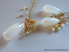 Australian Opal Necklace and Earring Set 14K by AproposbyDesign, $128.00