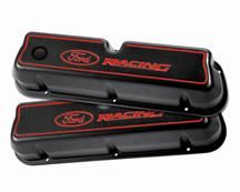 Mustang Ford Racing Tall Black Valve Covers with Red Ford Racing Logo Carbureted 289/302/351W