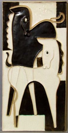 Scaffenacker Black and White Tile Plaque of Horses