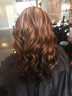 Dark Brown Hair With Blonde And Red Highlights Underneath Anexa Beauty