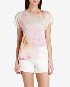 Rose on canvas T-shirt - Nude Pink | Tops & T-shirts | Ted Baker UK