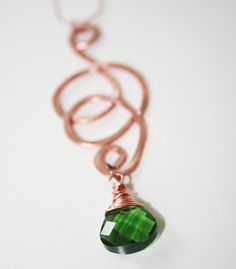 Hammered Copper Necklace with Emerald Green Wire Wrapped by Avalee, $35.00