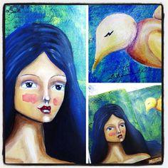 A few detail shots. #mixedmedia #artjournaling #whimsical #irisimpressionsart