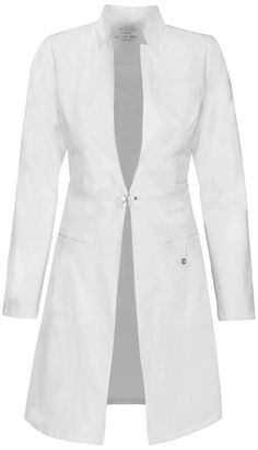 "Cherokee Luxe 32"" Lab Coat. A sleek, contemporary lab coat features a stand-up collar and zip-away detail at the waist which allows you to wear this as a cropped style when not at work. Cherokee Scrubs at Cherokee 4 Less"