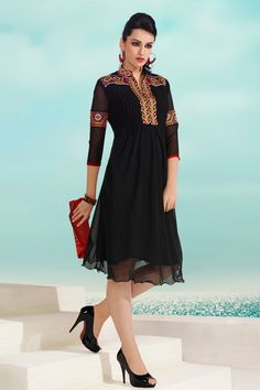 Black Faux Georgette Kurti with Embroidered - Z2196P3014-16 Checkout our #kurtis @ http://m.zohraa.com/kurtis.html #zohraa #designer #casual #kurtis #onlineshop #womensfashion #womenswear #look #diva #party #shopping #collection #online #beautiful #love #beauty #glam #bollywood #shoppingonline  #styles #stylish #model #fashionista #pretty #women #luxury #celebrity  #lifestyle #best #women #fashion